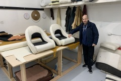 Boat upholstery work in shop