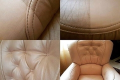 We repaired cracks and restored the color to this leather chair