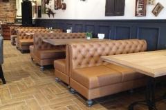Restored leather restaurant furniture