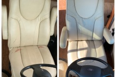 leather RV driver's seat before and after