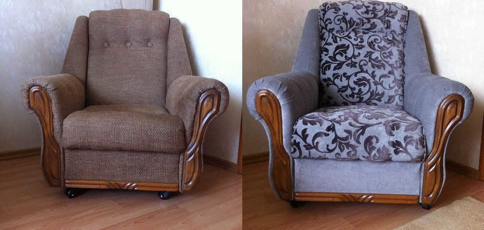 before and after image of reupholstered armchairs